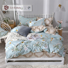 Liv-Esthete Modern Flower Blue Bedding Set Soft Duvet Cover Pillowcase Fitted Sheet Decor Bed Linen Adult Kids Bedspread
