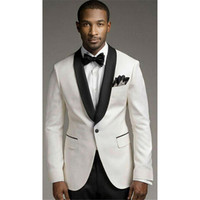 2019 Modern Men Suits Ivory Shawl Lapel Wedding Tuxedo Groomsmen Custom Business mens Suit (Jacket+Pants+tie)