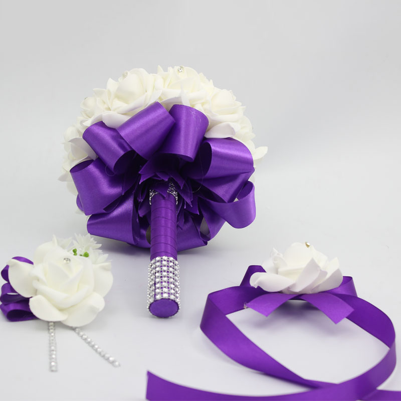 3 Pcs Purple Bride Bridesmais Diy Rose Flower Wedding Bouquet Man Boutonniere Wrist Corsage Set