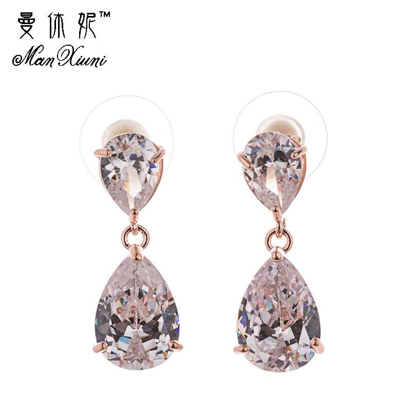 Golden Color Trendy Women Shiny Cubic Zircon Dangle Earrings Fashion Cubic zirconia Waterdrop Jewelry Women Accessories