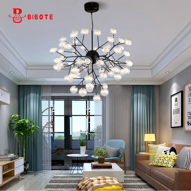 Modern Firefly Tree Branch Leaf Ceiling Hanging Chandelier Light Lamp Led Decorative Room Nordic Design Lustre Chandeliers