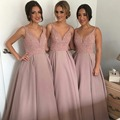 Fotos reais vestido de Baile Da Dama de honra Veste De Cristal Cor Preta V Pescoço Partido Ocasião Formal Longo Prom Dress OL102904
