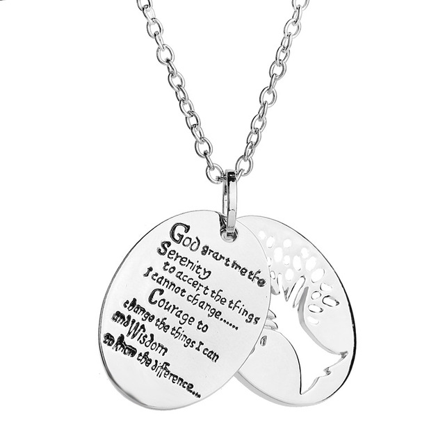 Tree Of Life God Bible 2in1 Serenity Prayer Charm Pendant Necklace
