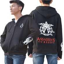 SexeMara Men's Autumn Sportswear Grey Assassins Creed Hoodies Male Zip Fleece Coat Assassin Creed Jackets Sweatshirt For Man 008