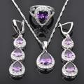 Water Drop Purple  Zirconia For Women 925 Sterling Silver Jewelry Sets Earrings/Pendant/Necklace/Rings Free Shipping JS0458