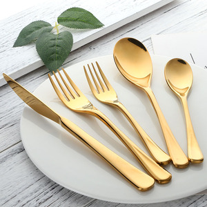 Image 5 - 5 Pcs/set Pure Gold European Dinnerware Knife 304 Stainless Steel Western Cutlery Kitchen Food Tableware Dinner Flatware Sets