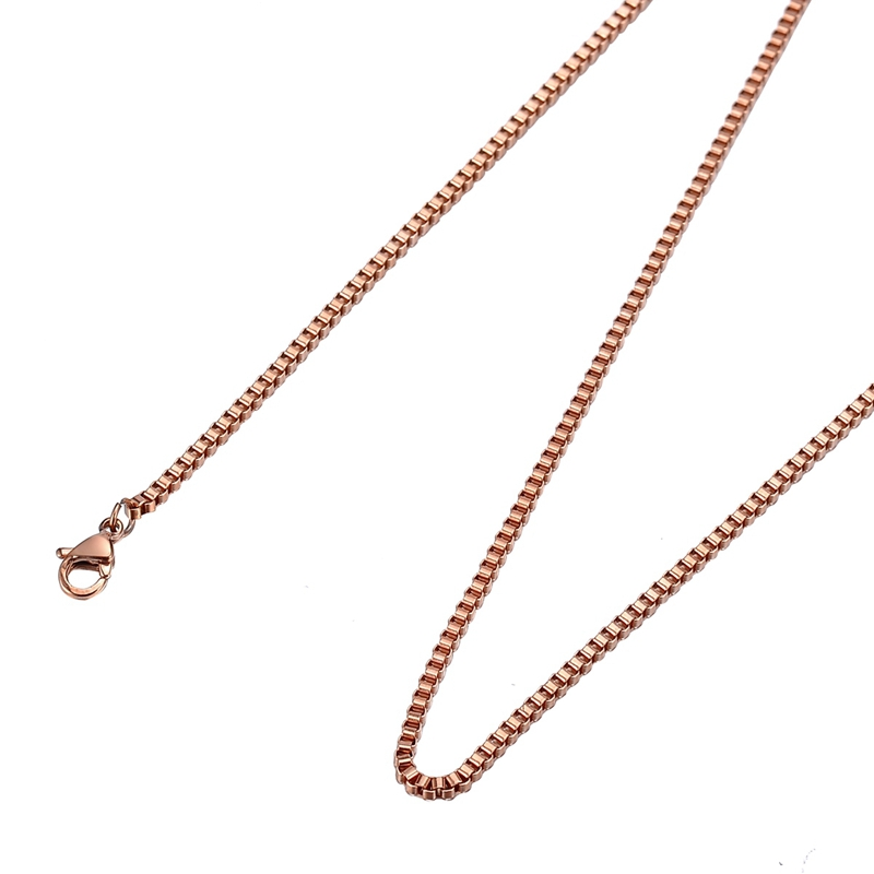 LASPERAL Box Square Stainless Steel Chain Necklace Women Men Rose Gold Black Link Chain Accessories DIY Supplies For Jewelry