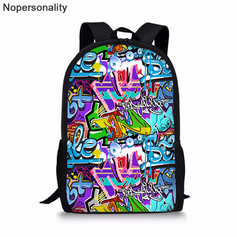 Nopersonality Personality Graffiti Backpack Students School Bag For Teenage Girls Boys Bag Pack Cartoon Printing School Rucksack