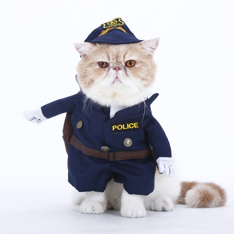 Handsome Policeman Cosplay Pet Costumes Suit Halloween Christmas New Year Party Apparel Clothes For Puppy Dog Costume for a cat