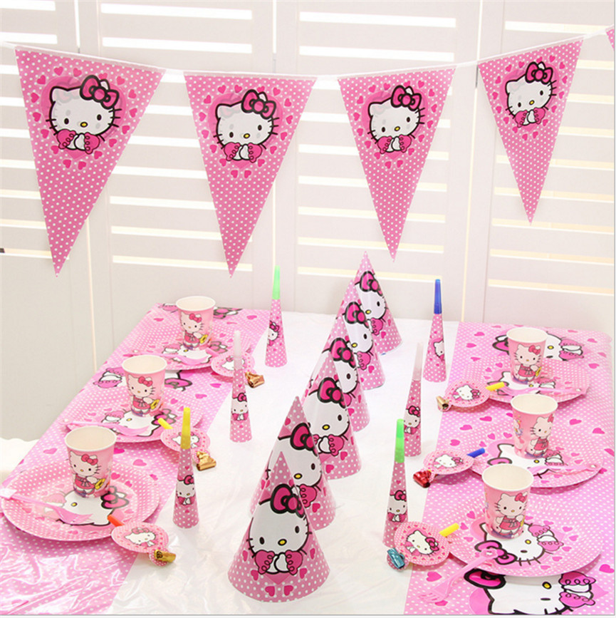 ac581d72c hello kitty Party Supplies Plate/Cup/Straw/Tablecloth/Cutlery/spoon/cap  kitty Birthday Party Decoration baby Shower Favor Set