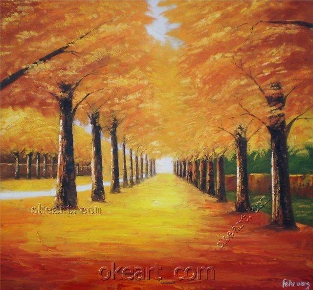 Golden Path of Autumn-Original Impression painting 28x28 inch