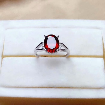 SHILOVEM real 925 sterling silver real Natural garnet rings fine Jewelry women wedding wholesale new gift plant mj0810837ags