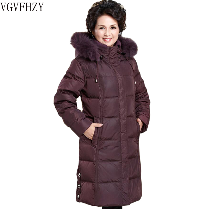 Fashion loose plus size Middle-aged White duck   down   jacket long mother 2018 Winter   coats   Fox fur collar Thicken warm   down     coats