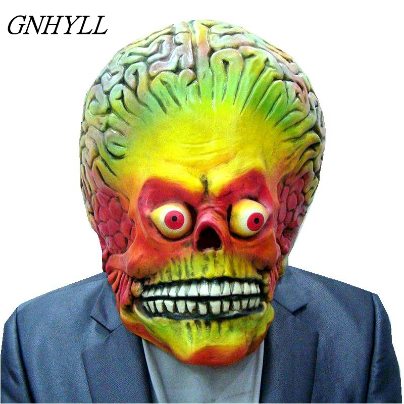 GNHYLL Attacks Martian Soldie Halloween Mask Full Head Latex Scary Alien Brain Party Mask UFO Mars Cosplay Costume Props