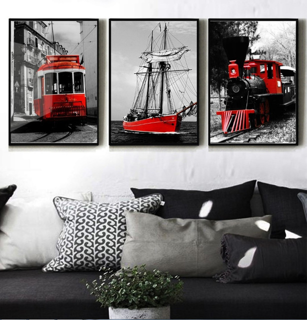 Modern home decor black and white color series red train for Modern home decor pieces