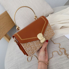 Flap Shape PU+Straw Bag for Women 2019 Summer Woman Straw Bag Handbag Beach Bag Women's Small Handbag Messenger Crossbody Bags
