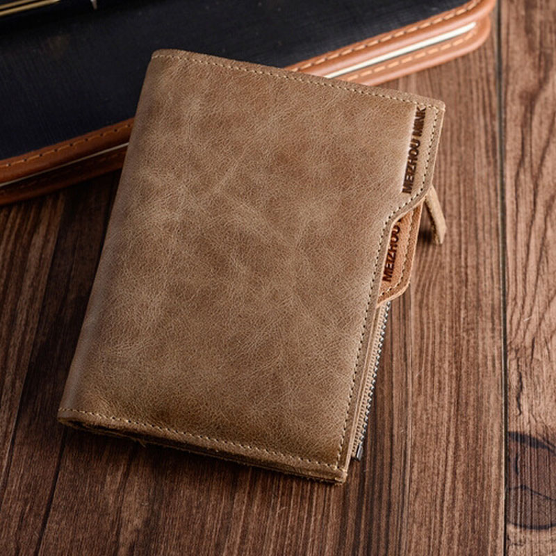 2017 Forró értékesítés! Minőségi valódi bőr rövid férfi pénztárca Bifod függőleges szakasz tehén bőr pénztárca Vintage márka design pénztárca