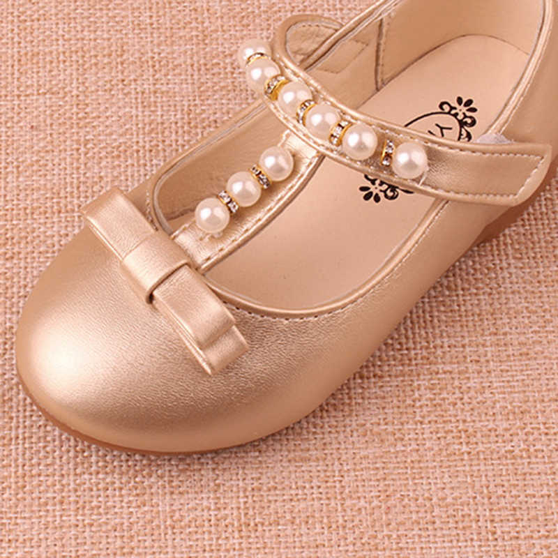 4eb5445fd8cf ... New 2018 Kids Baby Flowers Children Princess Leather Toddler Shoes For Little  Girl Gold Beaded Dance ...