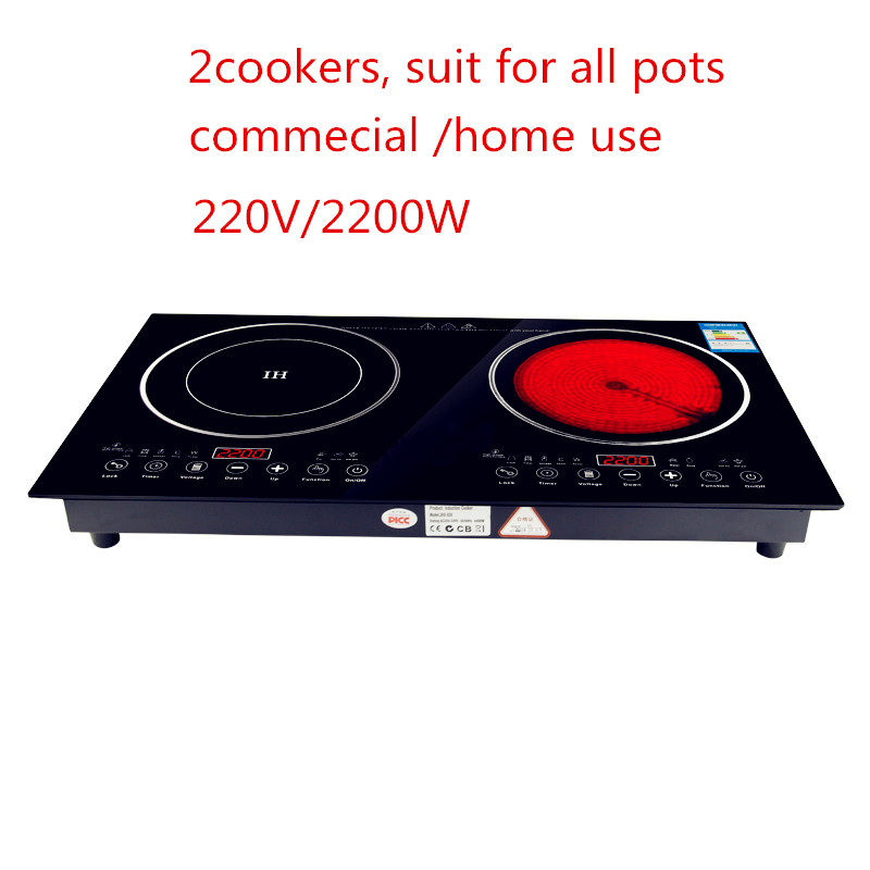 220V 2200W electric induction cooker /cooktop/ stove /cookware/hob/ ceramic stove with 2 cookers все цены