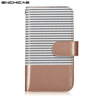 ENCHICAS for iPhone X 5S 6S 7 8 Plus Card Slot Cases Leather Wallet Phone Bag Flip Fashion Stripe Design with Strap Lanyard