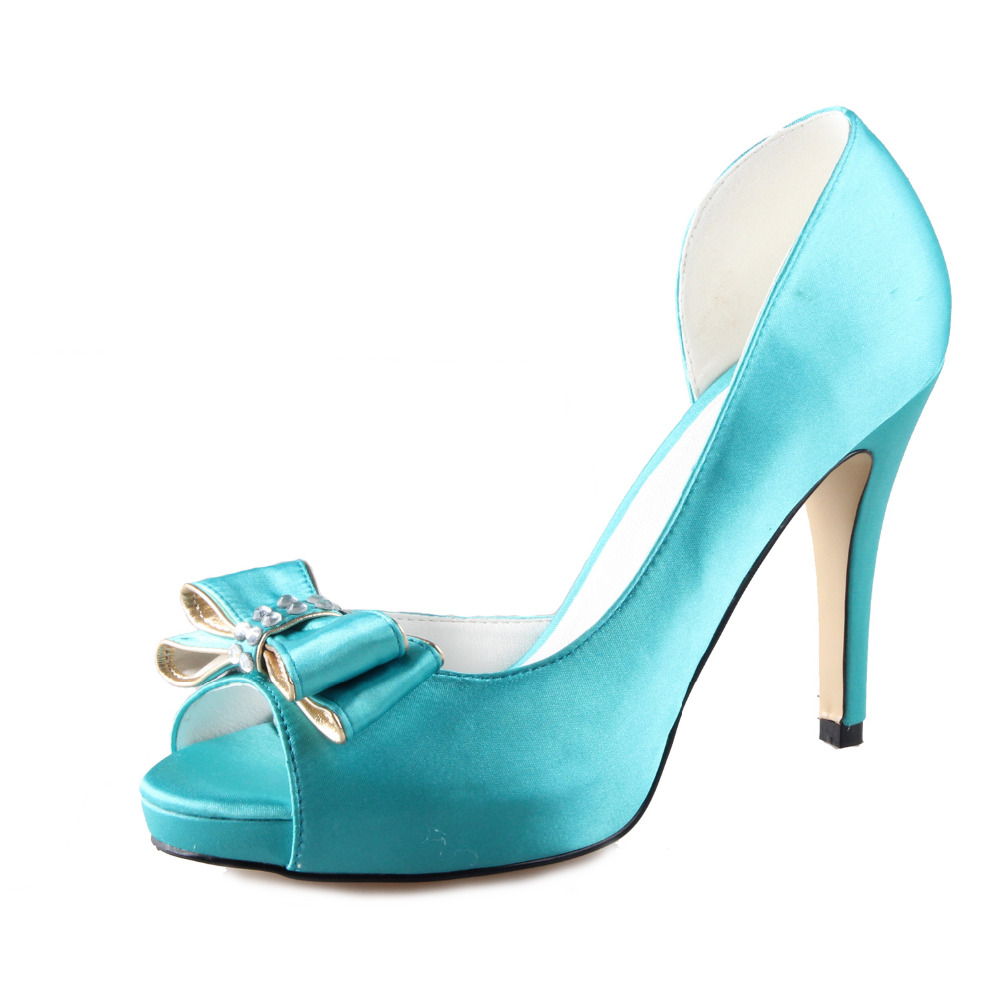 ФОТО Handmade turquoise aqua blue D'orsay bow bowknot shoes custom made pumps wedding party prom peep open toe dress shoes small big