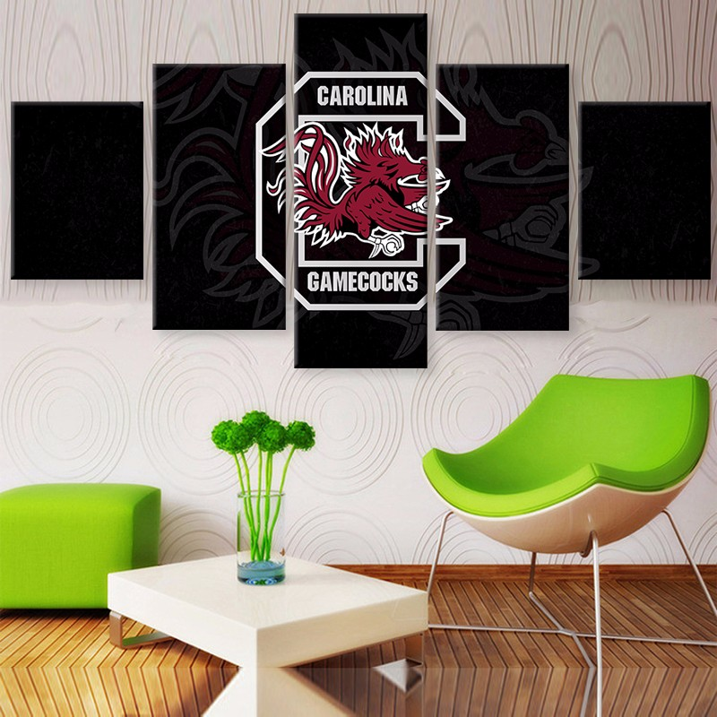 5 Panel South Carolina Gamecocks Sports Team Logo Modern Home Wall Decor Canvas Picture Art HD Print Painting On Canvas Artworks