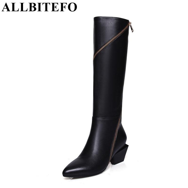 ALLBITEFO pełne prawdziwej skóry mieszane kolory łańcuchy projekt moda marka kobiety buty do kolan zimowe śnieg zip kobiety buty w Kozaki do kolan od Buty na  Grupa 1