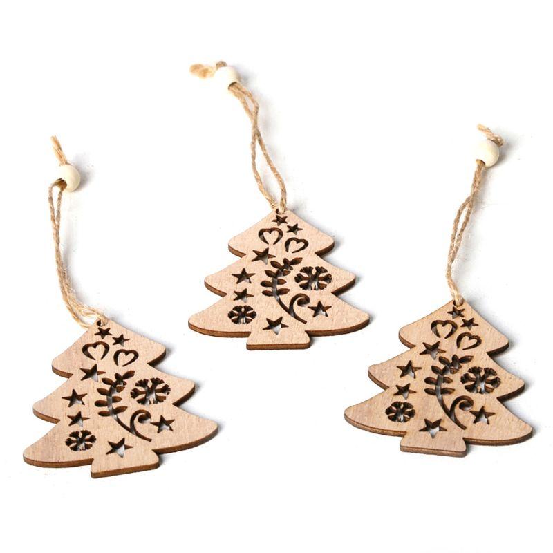 3 pièces/ensemble Vintage arbres de noël suspendus pendentifs avec des perles de corde ornement en bois bricolage artisanat fête décor cadeau