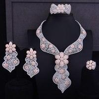 GODKI 124mm Luxury 2 Tone Rose Gold Flower Women Wedding Cubic Zirconia Dress Lariat Necklace Earring Dubai Jewelry Set