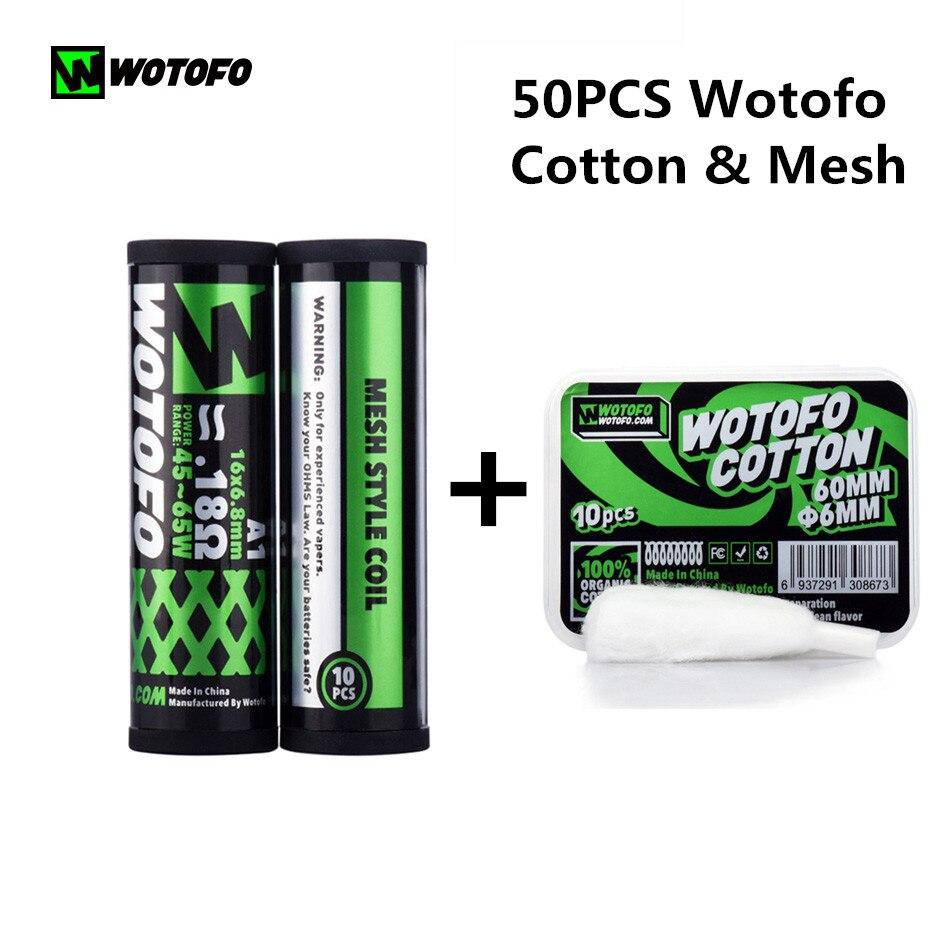 50Pcs Original Wotofo Profile RDA Mesh Prebuild Wire & Cotton 0.18ohm Coil Rebuildable Mesh Head Fit Profile RDA Vape Christmas