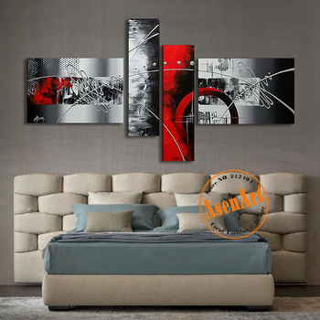 100% Hand Painted Modern Abstract Decoration Oil Painting Home Picture for Living Room Wall Art Canvas 4 Piece Unframed Artwork