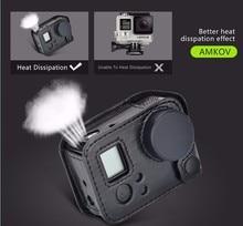 ل Gopro hero 4 الإسكان كاميرا حقيبة الصلب الحافظة واقية إطار من الجلد حالة الرافعة غطاء عدسة ل Hero 3 + 4 ملحقات الكاميرا