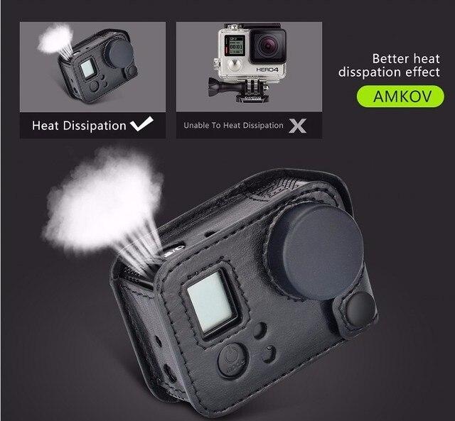 לgopro hero 4 שיכון תיק קשיח מגן נרתיק עור קייס מסגרת קלע אביזרי מצלמה מכסה עדשה לגיבור 3 + 4