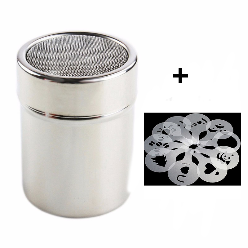 1pc Stainless Steel Chocolate Shaker Cocoa Flour Coffee Icing Sugar Powder Sifter+ 16Pcs Coffee Stencils Template Strew Pad