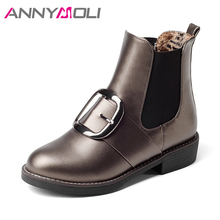 ANNYMOLI Women Ankle Boots Winter Buckle Chunky Heels Chelsea Boots Sewing Casual Female Boots Autumn Footwear 2018 Big Size 43
