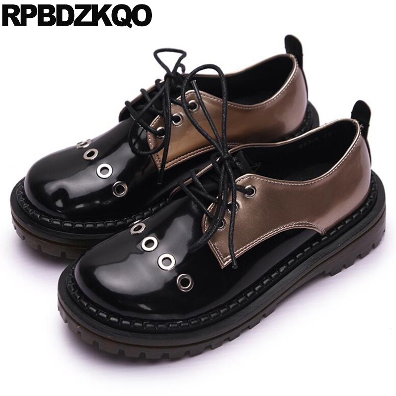 Thick Sole Slip Resistant Metal Flats Women Round Toe Vintage Oxfords Shoes Patent Leather Black Platform Harajuku Lace Up обложка для паспорта printio композиция