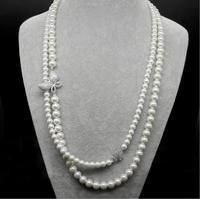 Sinzryファッションジュエリー立方ジルコンホワイト色ヴィンテージ模擬真珠蝶二層ネックレス用女
