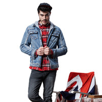 Men S Denim Jacket Fashion Men Autumn Winter Warm Casual Hood Thick Jeans Jacket Coat Outwear