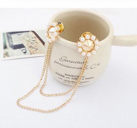 5d784e99f Fashion Gold Plated imitation Pearl Brooch Pins Fashion Rhinestone Women  Collar Clip Tassel Brooch Ladies Pins Brooches-in Brooches from Jewelry ...