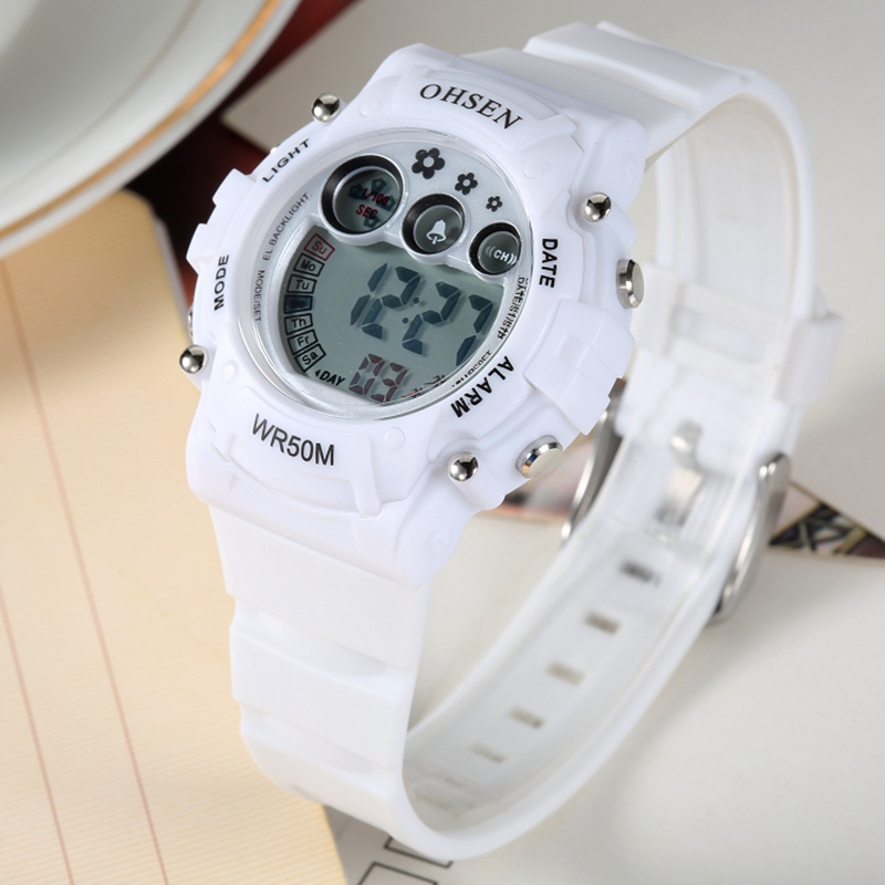 New 2017 OHSEN White Rubber Band Digital LED Wristwatch Boys Kids 50M Waterproof Outdoor Sport Cartoon Children Watches Gifts