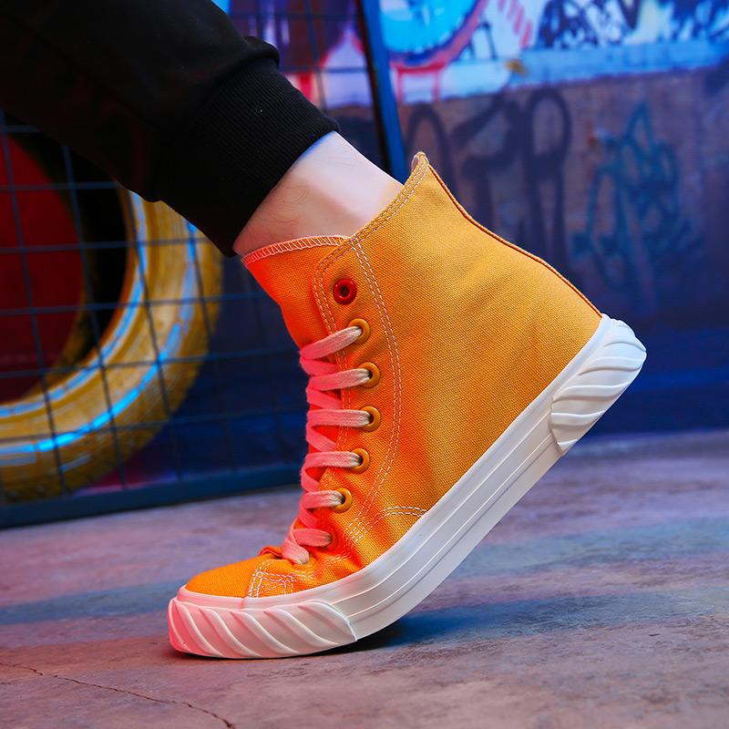 New Canvas Footwear For Men Yellow Beige Casual Footwear Youth High Top Casual Brand Men Shoes New Arrival Walking Shoes Canvas 12
