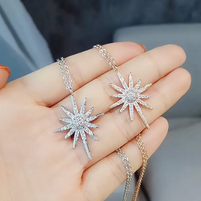 Trendy Ladies Zircon Flowers Necklaces & Pendants for Women Wedding Statement Sunflower Choker Necklace Gifts Jewelry
