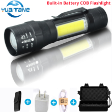 USB Rechargeable Built-in 18650 LED Flashlight 8000 Lumens 4 Modes COB+T6 Tactical Torch Zoomable Led Flashlights Lamp