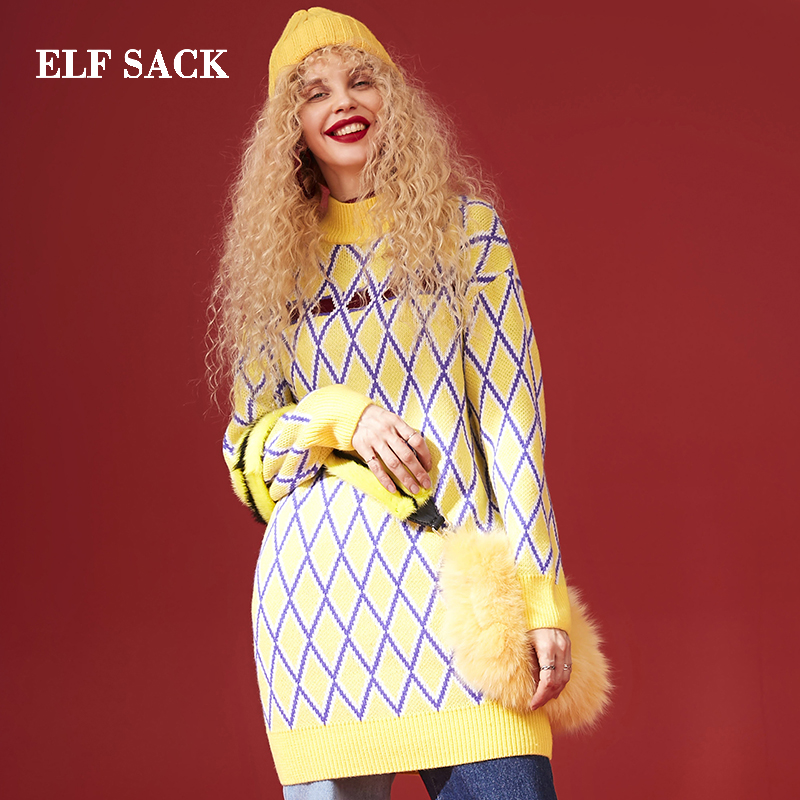 ELF SACK Warm Casual Plaid Oversize Sweater 18402060