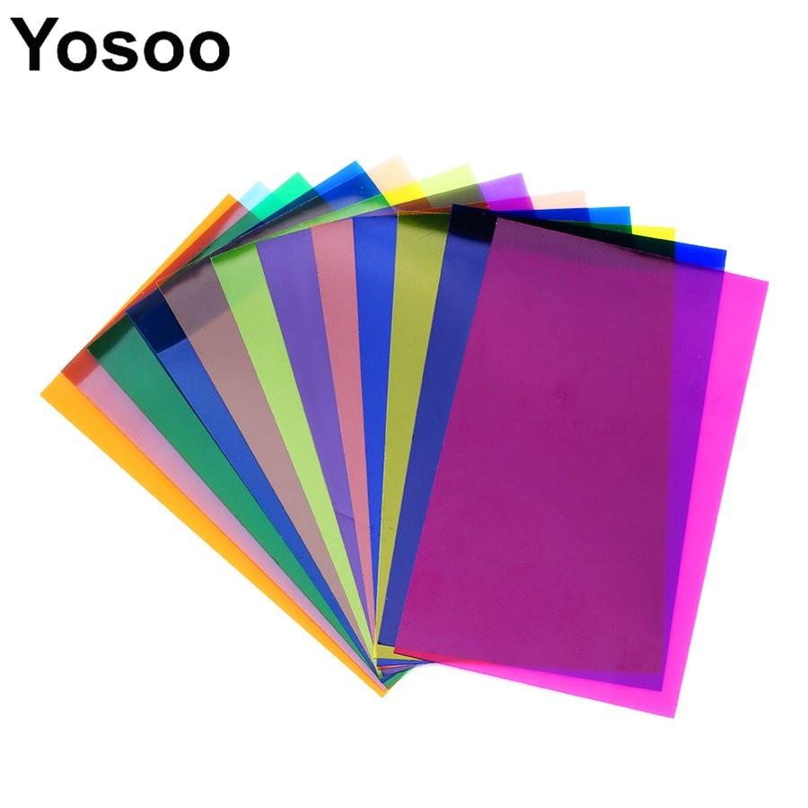 12pcs colorful strobist flash color card gels filter card lighting
