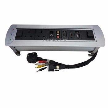 UK power HDMI RJ45 Electric rotation Desktop socket /hidden/ multimedia USB charging socket/Can choose function module UK Plug
