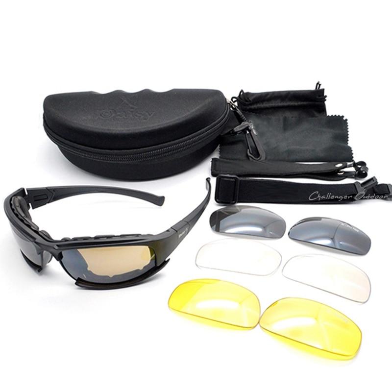 Prix pour Armée Lunettes lunettes de Soleil Hommes Militaire Daisy X7 lunettes de Soleil Mâle 4 Lentille Kit Pour Hommes de Jeu de Guerre Tactique Lunettes en plein air