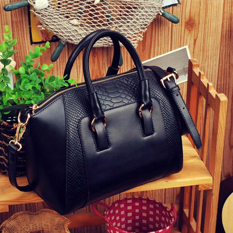 2014 Hotsale faux PU Leather Women Tote Handbags Wholesale Price Crocodile Grain Pattern women messenger bags