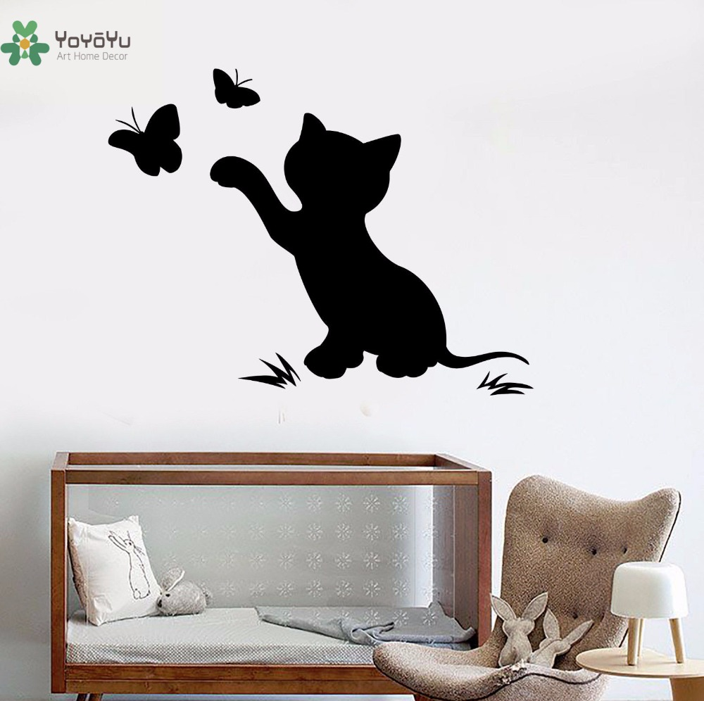 YOYOYU Vinyl Wall Decal Cute Cartoon Cat Scratching The Butterfly Animal Kids Room Bed Mirror Decoration Stickers FD405 in Wall Stickers from Home Garden