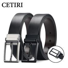 CETIRI Designer Fine Mens Dress Belt Leather Reversible 3.5cm Wide Rotated Buckle Genuine  Strap For Men Jeans